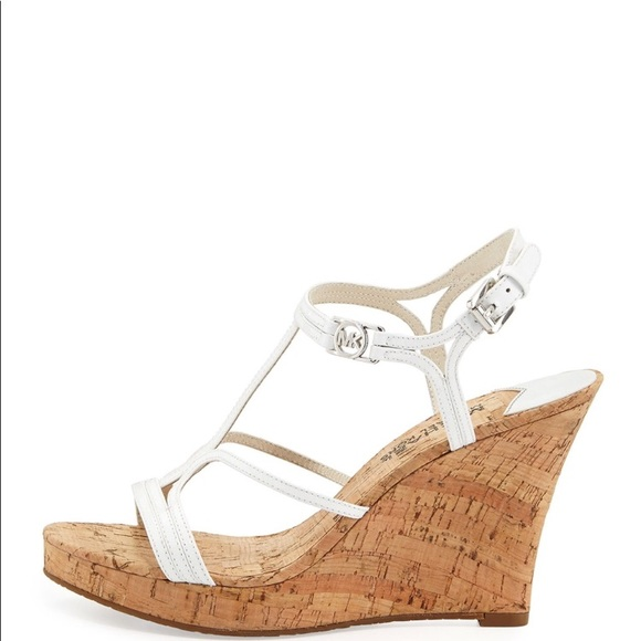 01d5f92f9ce Michale Kors cicely wedge sandals white